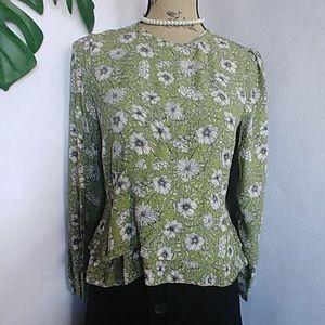 Zara Green Floral Peplum Blouse Top